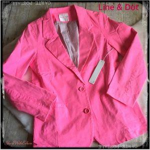 Line & Dot REVOLVE HOT PINK Cotton Blazer NWT